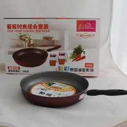 Wholesale Combination of three sets of oil pot frying pan suit gift advertising pot durable metal pans home kitchen cookwawre