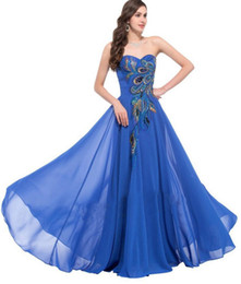 Wholesale Peacock Prom Cocktail Evening - Strapless Peacock Evening Dress Long Chiffon Embroidery Formal Evening Gowns Robe De Soiree Wedding Prom Dress 2017