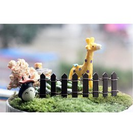 Wholesale Beautiful Green Scenery - Wholesale-10x3cm Beautiful Wooden Fence Garden Ornament Accessory Plant Pots Fairy Scenery Decor Different Colors