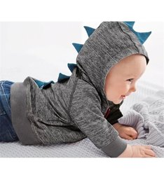 Wholesale Hood Sweater Boys - hooded sweater fashion Kids tops jackets autumn boys coat dinosaur shape baby boy Outwear clothing A08