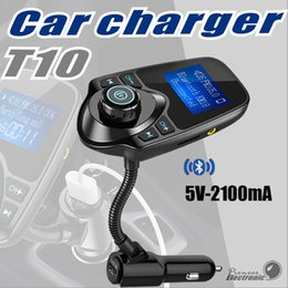 Wholesale Wireless Audio Transmitter Bluetooth - T10 Car Kit LED Display MP3 Audio Player Bluetooth FM Transmitter Support TF Card USB Bluetooth wireless car charging