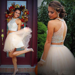 Wholesale Halter Top High Neck Dress - 2017 Two Pieces Halter Homecoming Dresses Sweet 16 Dresses Beading Crystal Top Tulle Short Party 8th Grade Graduation Prom Dress Cocktail