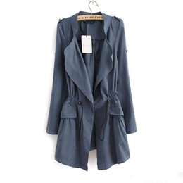 Wholesale Trench Coat Pink Korean - Autumn New Korean Slim Women's Trench coat Fashion Casual Women Thin section Windbreaker And Long Sections Solid color coats jackets