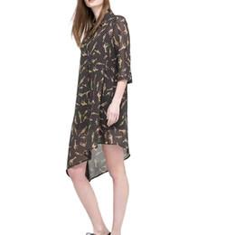 Wholesale Collared Blouses - women vintage Polka dot giraffes print long blouses three quarter sleeve turn down collar loose shirts ladies casual tops