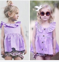 Wholesale Boat Neck Cardigan - Newest Girls Baby Childrens Dresses Clothing Summer Cotton Ruffled Princess Dress Toddler Cardigan Purple Dresses Boutique Clothes