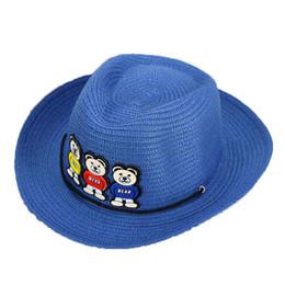 Wholesale Little Bear Hat - Wholesale 10 pcs Unisex Summer Sun Cap Kids Three Little Bear Design Outdoors Sun Protective Beach Hats 2017 MZ4733