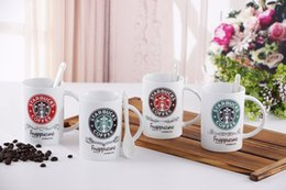 Wholesale Starbucks Milk Cup - Classic Starbucks trend of European ceramic mug milk coffee cup office cup spoon water cup free shipping