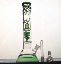 Wholesale Looking Glasses - new Classic beaker bong with grace design straight tube is beaded qround glass water bong cool look green water pipe glass hookahs