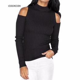 Wholesale Off Shoulder Turtleneck - Wholesale- Turtleneck Off Shoulder Knitted Sweater Women Autumn Pullover Jumpers Pull Femme Oversized capes