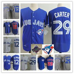 Wholesale Men S Mesh Shorts - Mens #29 Joe Carter 1993 WS jersey Embroidery stitched Royal Blue mesh #12 ROBERTO ALOMAR throwback baseball Jersey S-3XL