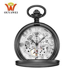 Wholesale Mechanical Vintage Pocket Watches - NEW Arrival OYW Brand Mechanical Hand Wind Pocket Watch Men Retro Vintage Pendant Skeleton Design Stainless Steel Case Man Watch
