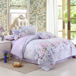 Wholesale Cotton Reactive Bedding Set - Wholesale- Bedding Set Purple Flowers Bed Sheet Reactive Printing Bed Linen Cotton Bedding Comforter Cover Twin Full  Queen Size 22-1