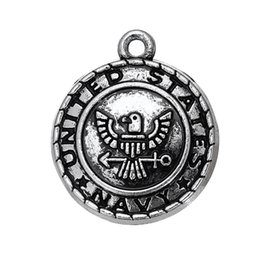 Wholesale eagle charm antique - Zinc Alloy Antique Silver Plated Eagle with Navy Jewelry Shoulder Strap Pendant Charms