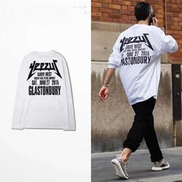 Wholesale Concert Tees - 100% Cotton Kanye West White Yeezus Shirt Long Sleeve Online Buy Wholesale Price Bieber Undershirt Concert Tee