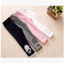 Wholesale Wholesale Thicken Leggings - Girls princess leggings Kids cotton flowers embroidery tights children lace thicken pants New Autumn girls bottoms kids clothing G0615
