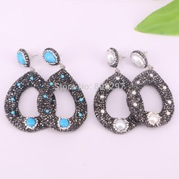 Wholesale blue pearl studs - new 4Pairs pave crystal rhinestone pearl blue stone dangle earrings,handmade fashion jewelry earring
