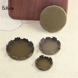 Wholesale Wholesale Metal 25mm Round Tray - BoYuTe 100Pcs Round 15MM 20MM 25MM Cameo Cabochon Base Blank Tray Setting Diy Metal Base Jewelry Accessories