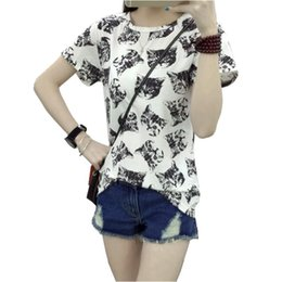 Wholesale Korean Cat Cartoon - Wholesale-Women Dress Summer New Fashion Female T-shirt Korean Sweet Cartoon Cat Printed Ladies Short Sleeve Tops Factory Outlets