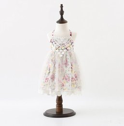 tulle flower puffs Coupons - 2017 Summer Baby Girls Lace Florals Dress Kids Hollow Out Tulle Princess Dress Children Flowers Causal Cotton Dresses