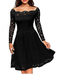 Wholesale Sexy Going Out Dresses - Women's Going out Plus Size Sexy Street chic A Line Lace Dress,Solid Off Shoulder Knee-length Long Sleeves Polyester Spring Fall Mid Rise