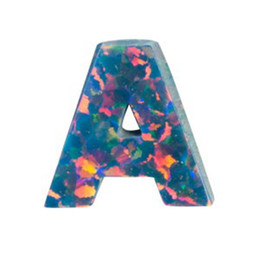 Wholesale B Letter Pendant - 2017 Hot Items A B C Letter Alphabet Opal With Hole for Necklace or Pendant 20pcs a lot