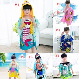 Wholesale Mermaids Child - 8 styles Mermaid bathrobe Kids Robes cartoon animal shark Nightgown Children Towels Hooded bathrobes C2508