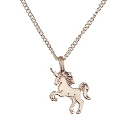 Wholesale Golden Unicorn - Horse Pendant Jewelry Necklace Golden Silver Color Unicorn Horse Alloy Maded Wholesale Necklace Women Gifts Free Shipping