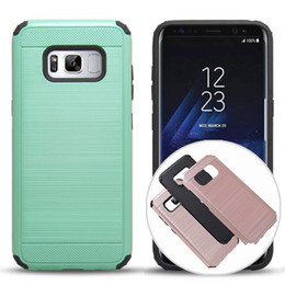 Wholesale Defender Tpu - Defender Case For iPhone 7 6s Samsung Galaxy S8 S8 PLUS Hybrid Wire Drawing PC Back Inner TPU Armor Rugged Case