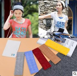 Wholesale Cheap Head Wraps - 2017 Newest Velvet Cotton Elastic Sports Wide Stretch Headbands for Women Hair Accessories Head Wrap Plain Headbands Cheap Hairbands