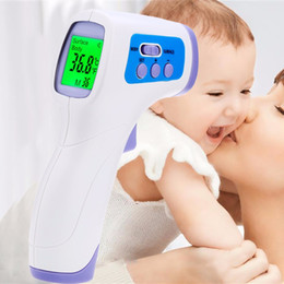 Wholesale Digital Infrared Body Thermometer - New Muti-fuction Baby Adult Digital Termometer Infrared Forehead Body Thermometer Gun Non-contact Temperature Measurement Device 50pcs PC868