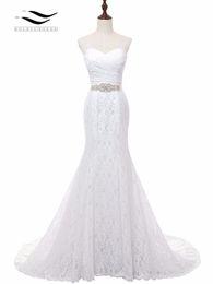 Wholesale Cheap Silk Satin Dresses - Solovedress Real Photos Elegant Sweetheart Chapel Train Mermaid Lace Wedding dress 2017 Bridal Gown Cheap Wholesale Price W001