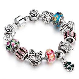 Wholesale Tibetan Bracelets For Women - Hot Fashion Sparkling Crystal Stone Charm Bracelets For Women Tibetan Charm Bracelets for Women Original DIY Beads Jewelry AA89