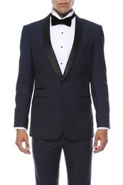 Wholesale Slim Suits For Cheap - Cheap Navy Wedding Mens Suits 2017 Shawl Lapel Two Piece One Button Groom Tuxedos Slim Fit Custom Made Suits for Men (Suit+Pants+Tie)