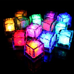 Wholesale Led Waterproof Cube - New arrive LED flash Ice cube lights 12Pcs set waterproof put in water glowing Ice cube flicker landscape for Bar party wedding decoration