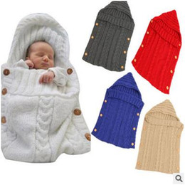 Wholesale Wholesale Wool Bags - Baby Blanket Sleeping Bag Infant Swaddle Wrap Warm Wool Blends Crochet Knitted Hoodie Swaddling Wrap 7 Styles DHL Free Shipping