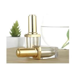 Escova de garrafa de óleo de unha on-line-2017 Nova 10 ml de alta qualidade de luxo unha polonês acrílico garrafas com escova garrafa de ouro quadrado para unha polonês óleo essencial