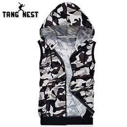 Wholesale Casual Male Camouflage Vest - Wholesale- Camouflage Men Vest Hooded 2017 Fashion New Casual Thin Vest Men Printing Soft All-matched Vest Male Chaleco Hombre MWB234
