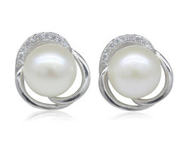 Wholesale white south sea pearl earrings - Elegant natural 9-10mm oblate south sea white pearl earrings ZFE-0055