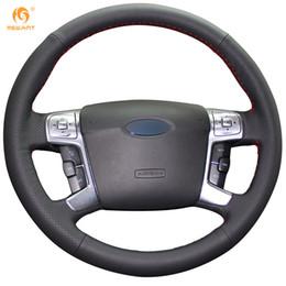 крышка рулевого колеса кожа Скидка DIY Mewant черный натуральная кожа крышка рулевого колеса автомобиля для Ford Mondeo 2007 2008 2009 2010 2011 2012 Mk4