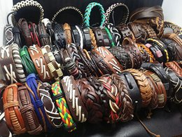 Wholesale Leather Cuff Bracelets For Women - Fashion Genuine leather Vintage Mix Style Stretchable surfer cuff Jewelry Bracelets For Man Women Best Gift 50pcs Lot
