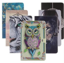 Wholesale Owl Pattern Case - Lion Tiger Owl abstract Printing Pattern Flip pu Leather Smart Stand Shell Cover Case for Apple Ipad 2 3 4 mini 1 2 3 Air 1 2 Tablet case