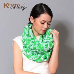 Wholesale Kids Infinity Scarves - Wholesale-lucky Clover Shamrock infinity scarf green Women St Patrick's Day festival Ireland kids Gift hijab foulard femme echarpe neck