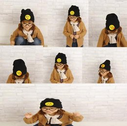Wholesale Girl Korean Winter Hat - Baby Boy Girl Hats Korean Children Smiling Face Knitted Hat Children Hat Cap Autumn And Winter Baby Solid Color Warm Wool Hat TOP2021