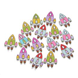 Wholesale Rockets Wooden - Kimter Mixed Rocket Shape Wooden Sewing Buttons With 2 Holes 3.2x2.3cm For DIY Garment Doll Decorations Crafts Pack Of 50pcs I673L