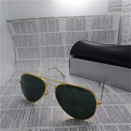 Wholesale Large Sunglasses Case - Designer Classic Sunglasses Mens Womes Sun Glasses Eyewear Gold Frame Brown 58mm and 62mm Glass Lenses Large Metal With Better Black Case