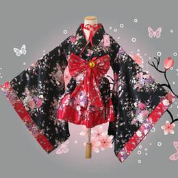 Argentina Al por mayor-Plus Size S-3XL Flores de cerezo japonés Anime Cosplay Lolita Disfraz de Halloween Japonés Kimono Traje Para mujeres y niños Suministro