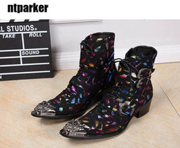 Wholesale Boot Irons - 100% Brand New Limited Edition Men Ankle Boots Perfect Iron Toe Colorful Boots Men, Party Stage Boots for Man!
