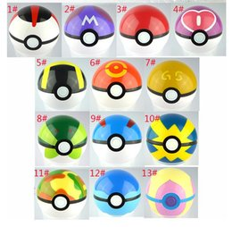 Wholesale Pops Videos - 300Pcs Poke Ball Anime Toys Cartoon Pocket Monsters ABS Action Figures pikachu Ball Cosplay Pop-up 13 colors Fast Shipping