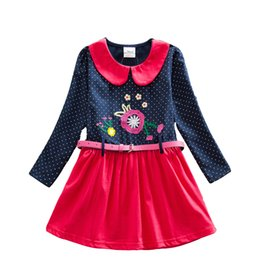 Wholesale Long Sleeve Girls Frock - 4-8Y 2017 New Girls Dresses Flower Frocks Clothes Princess Long Sleeve Baby Clothes Kids Party Halloween Dresses LH6869