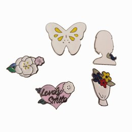 Wholesale Butterfly Jeans - Wholesale- Free Shipping Cartoon Cute Flowers Butterfly Girl Enamel Brooches Pins Badge Jeans Decoration Fashion Jewelry For Women Gift